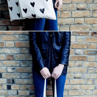 diy heart print bag