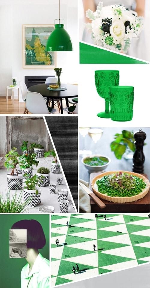 Green, white, black, grey