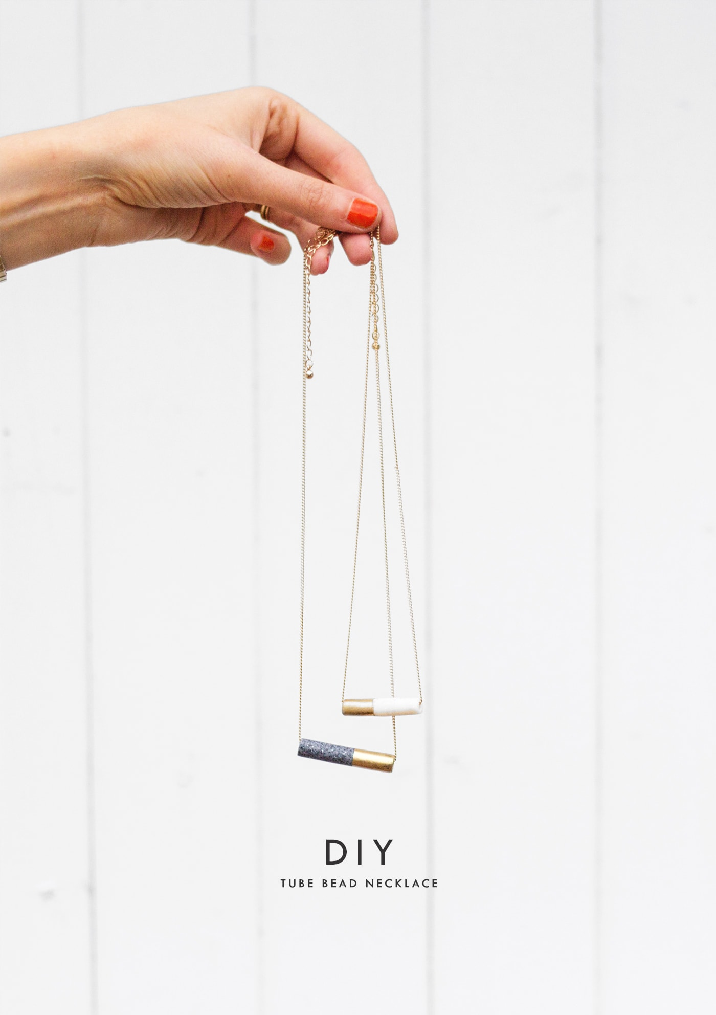 diy tube bead necklace | marble | gold | craft | homemade gifts