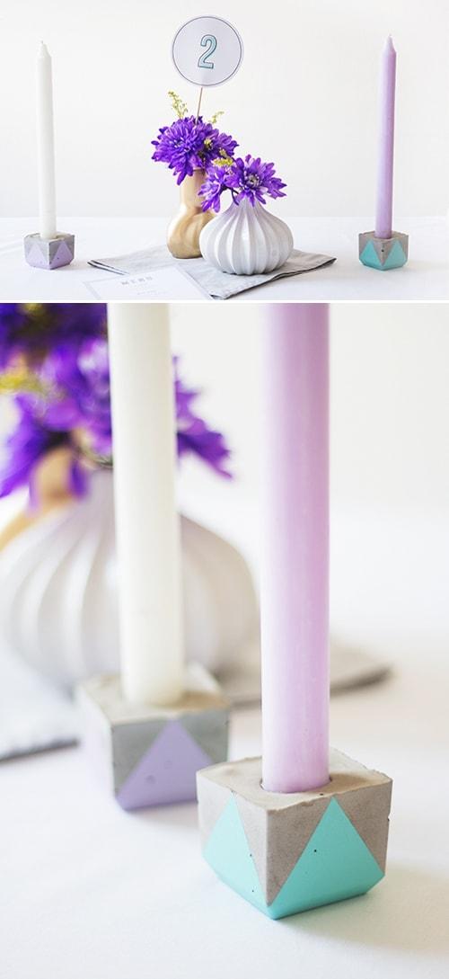 DIY geometric concrete candle holders