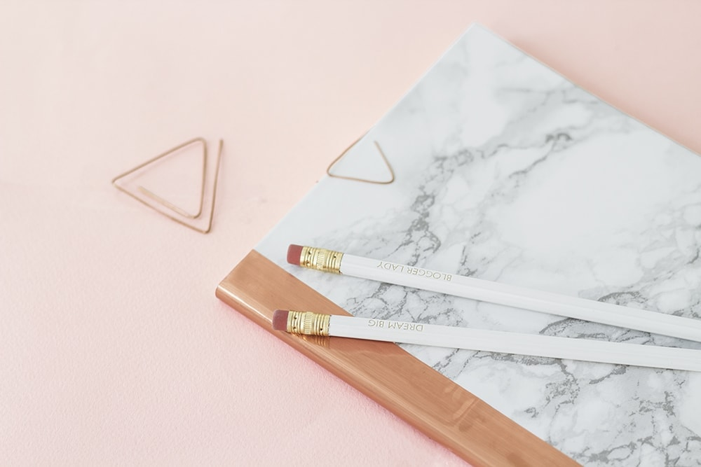 DIY marble and copper stationery 3