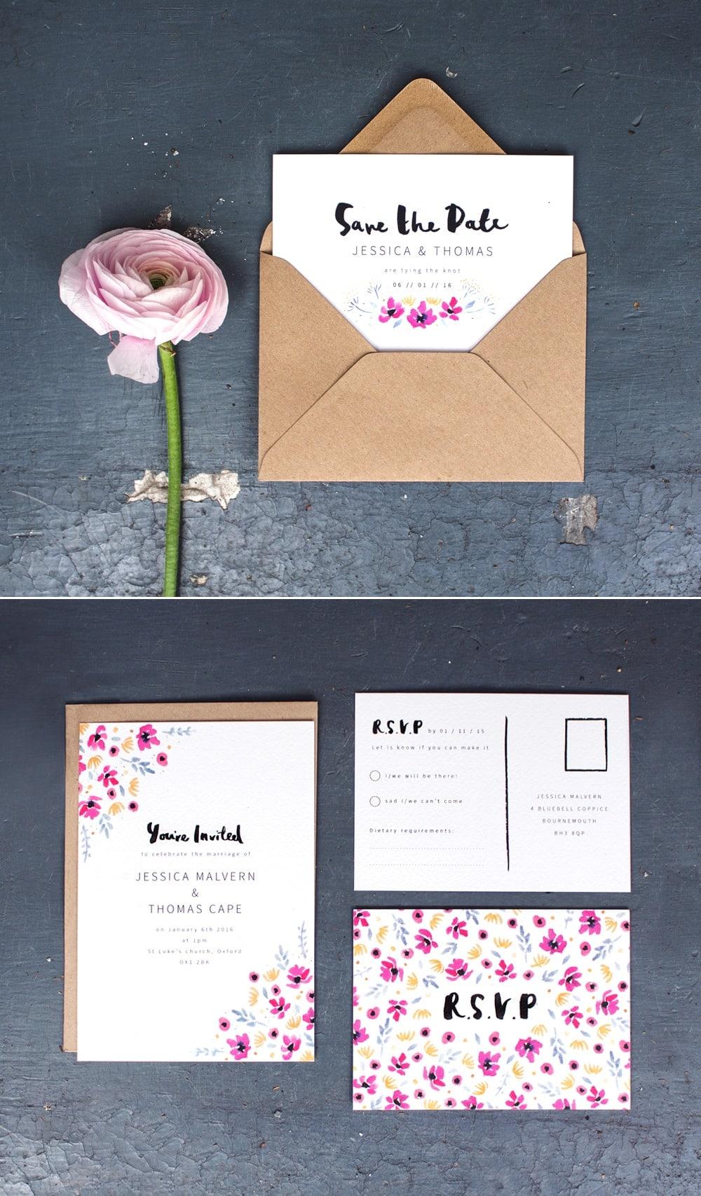 watercolou meadow wedding stationery