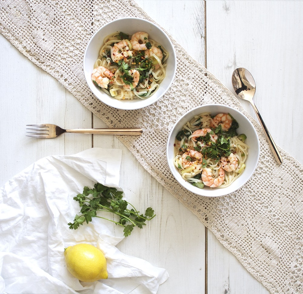 lemon prawn noodle bowl