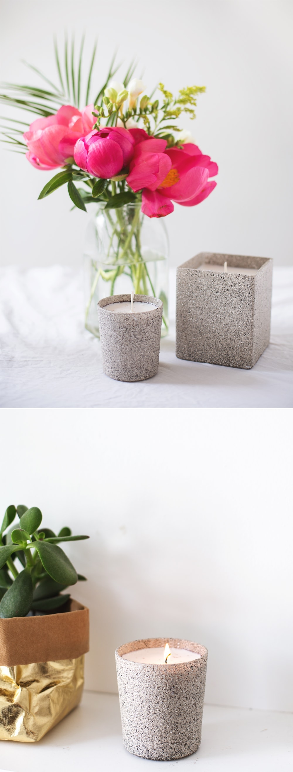 DIY stone affect candle