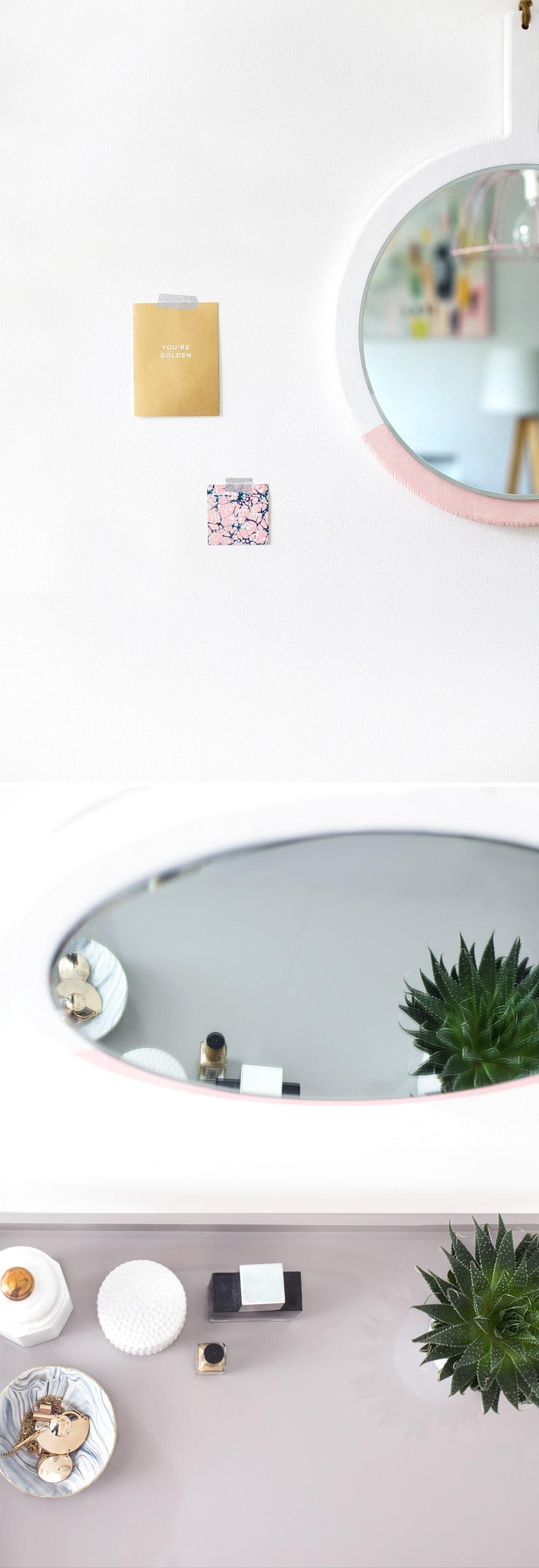 sugar & cloth hanging mirror colour block