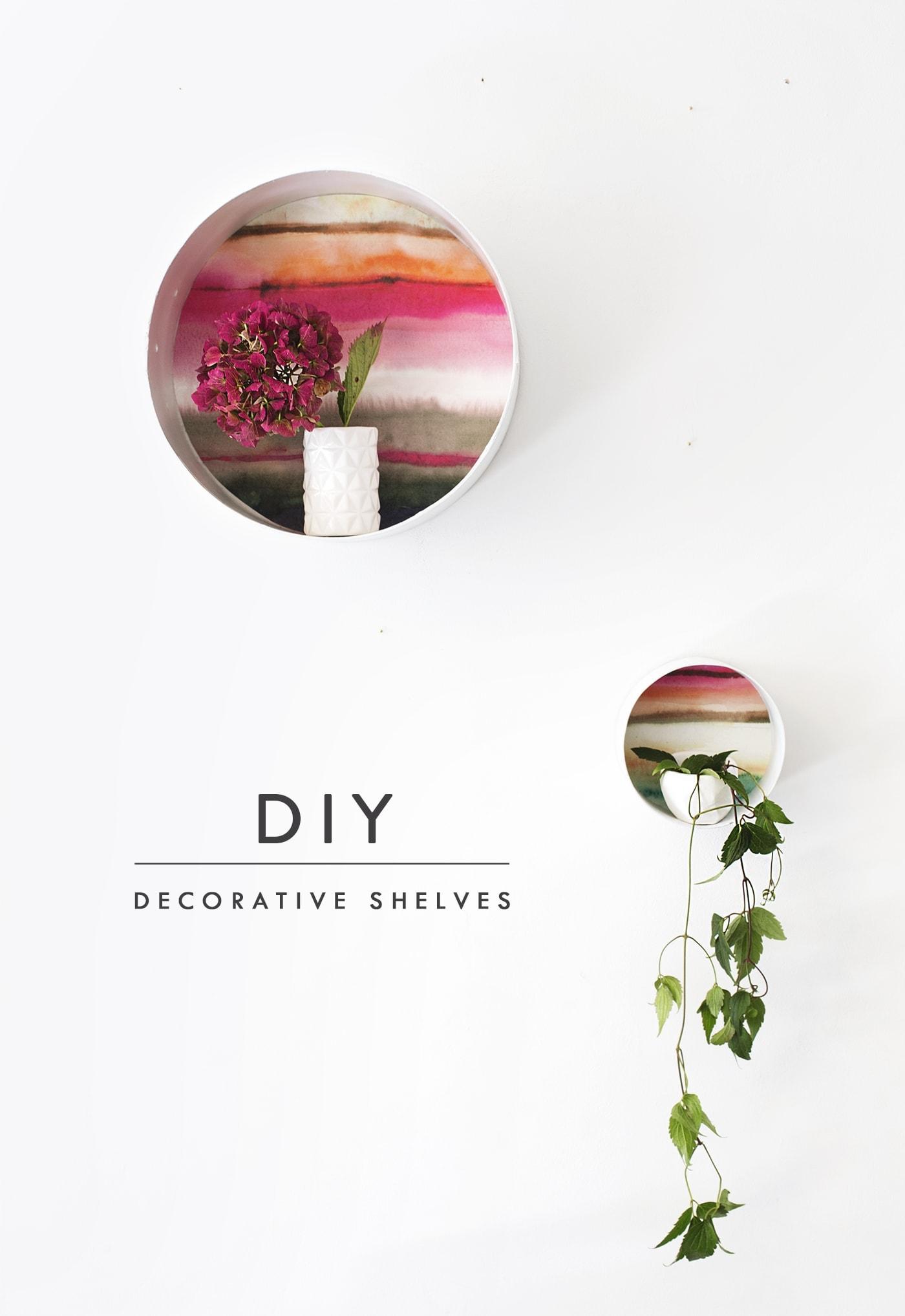 DIY decorative display shelves using Voyage wallpaper   the lovely drawer