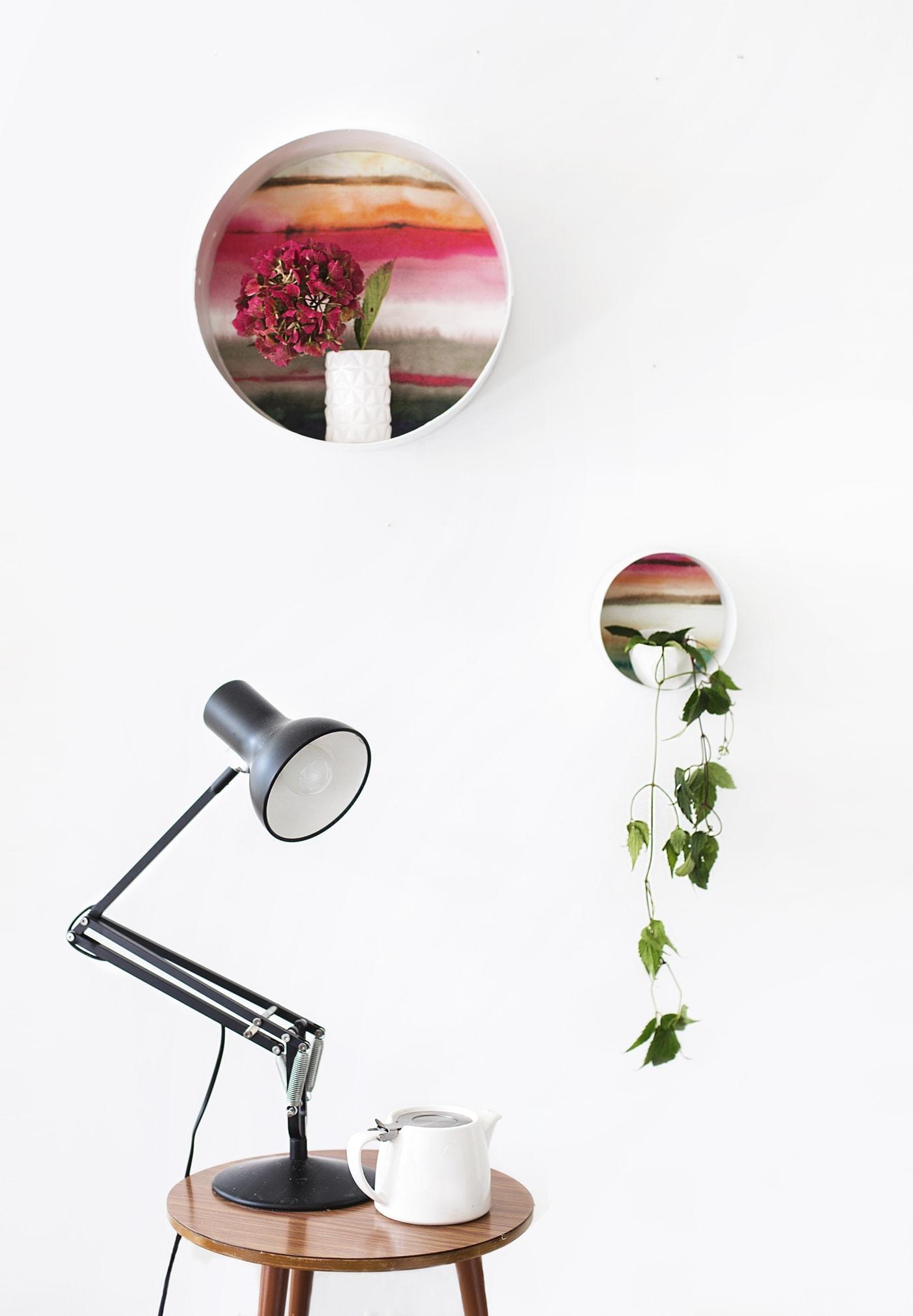 DIY decorative display shelves using wallpaper   the lovely drawer