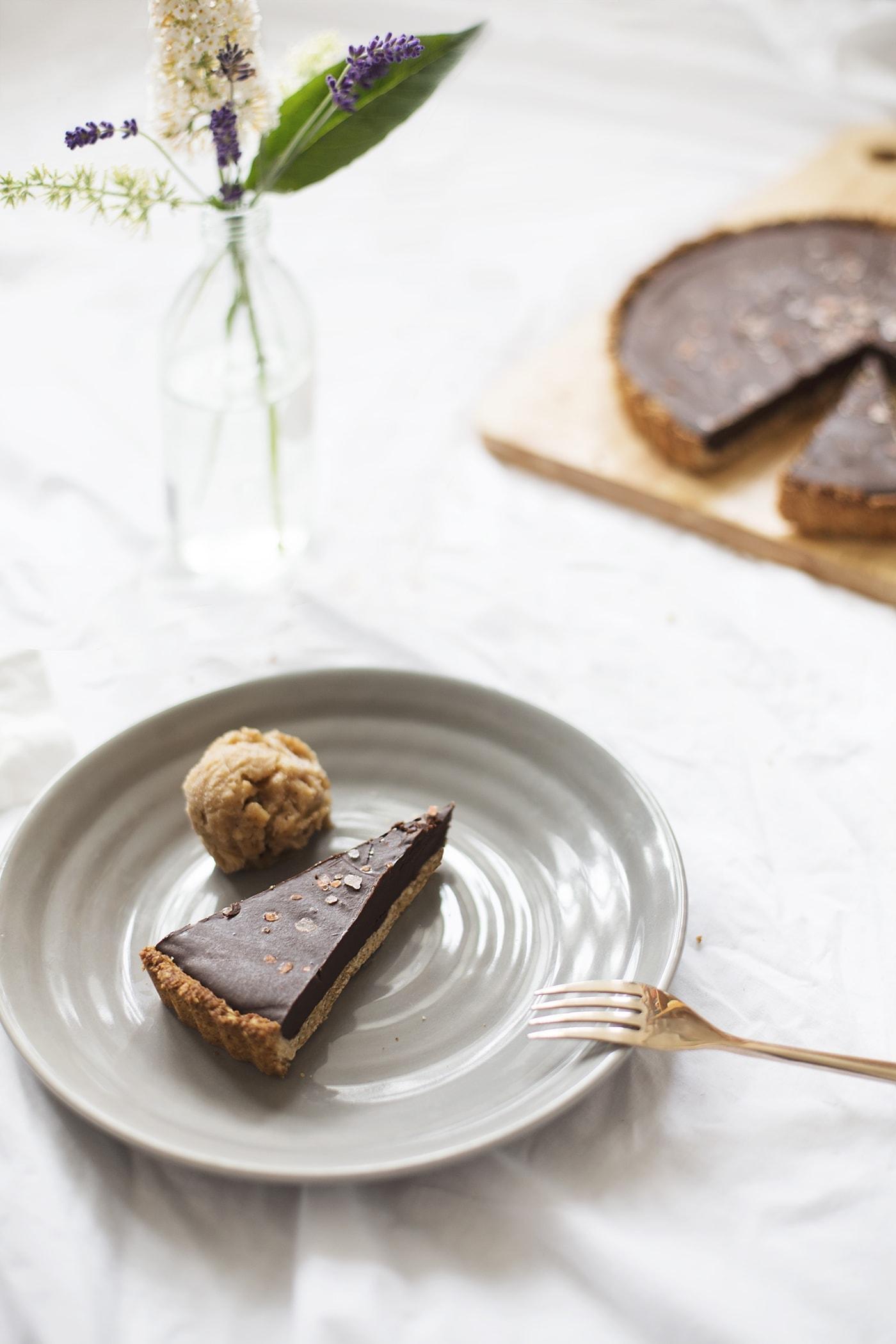 easy vegan GF coconut chocolate tart | the lovely drawer