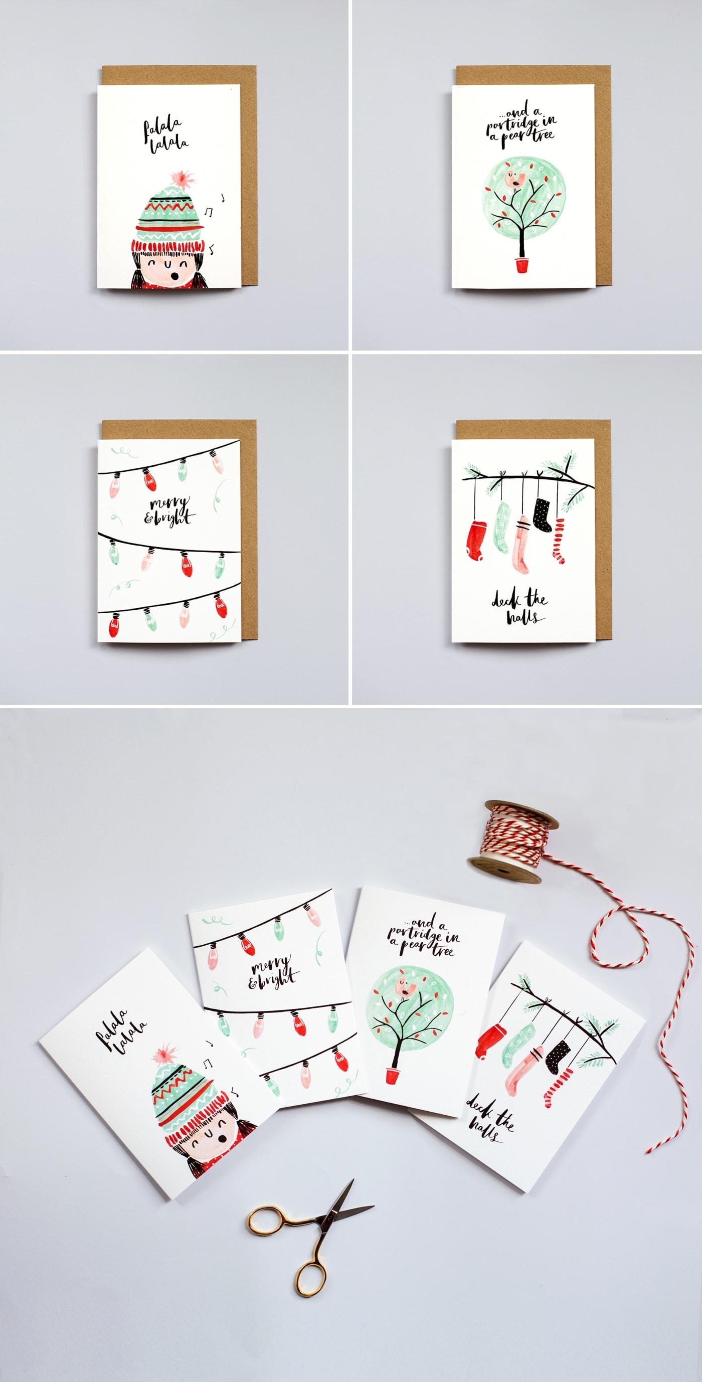 The Lovely Drawer Christmas Cards | brush lettering | illustration