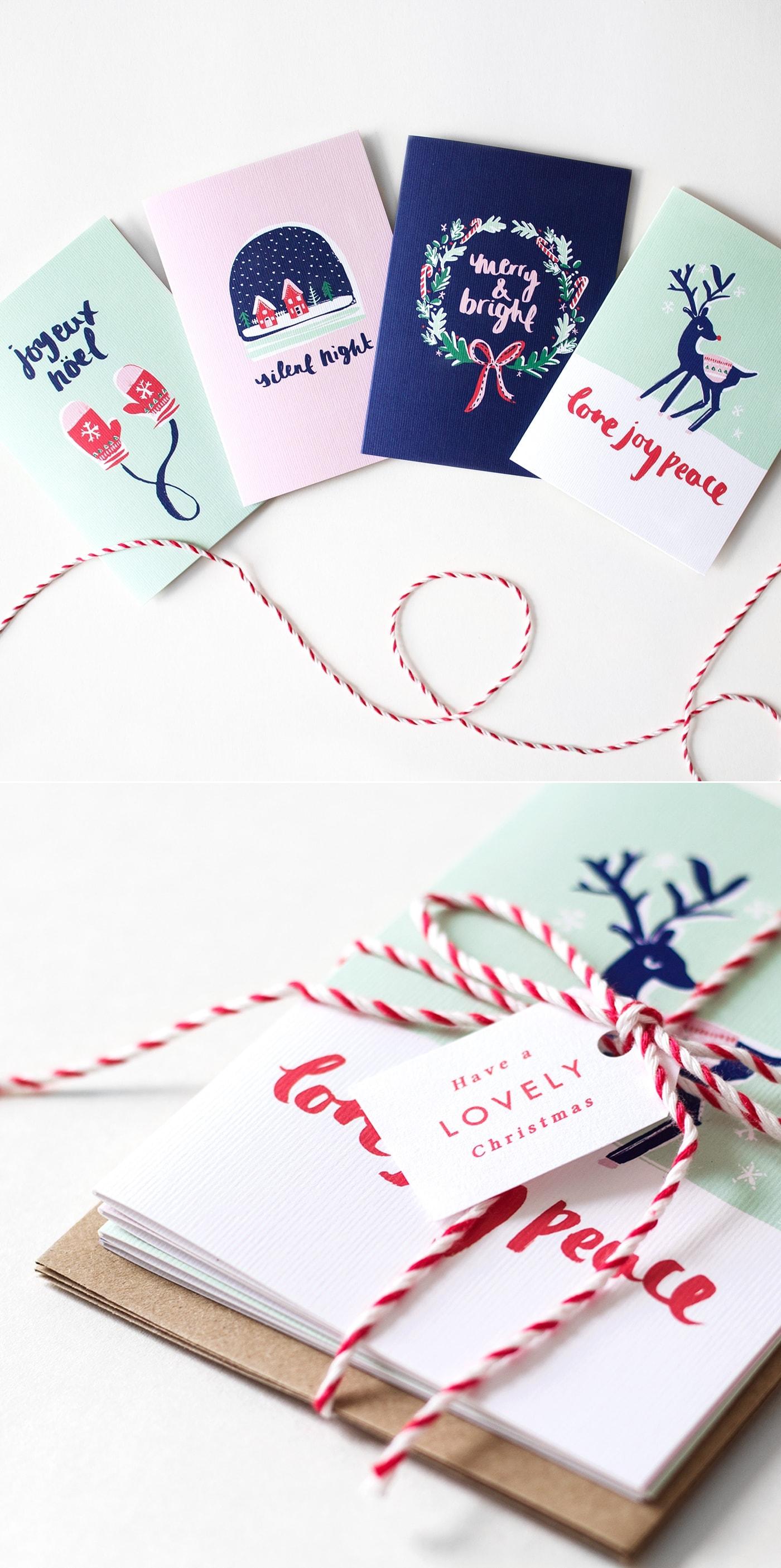 The Lovely Drawer Christmas cards | ink brush lettering | illustration