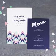geometric love invite & menu