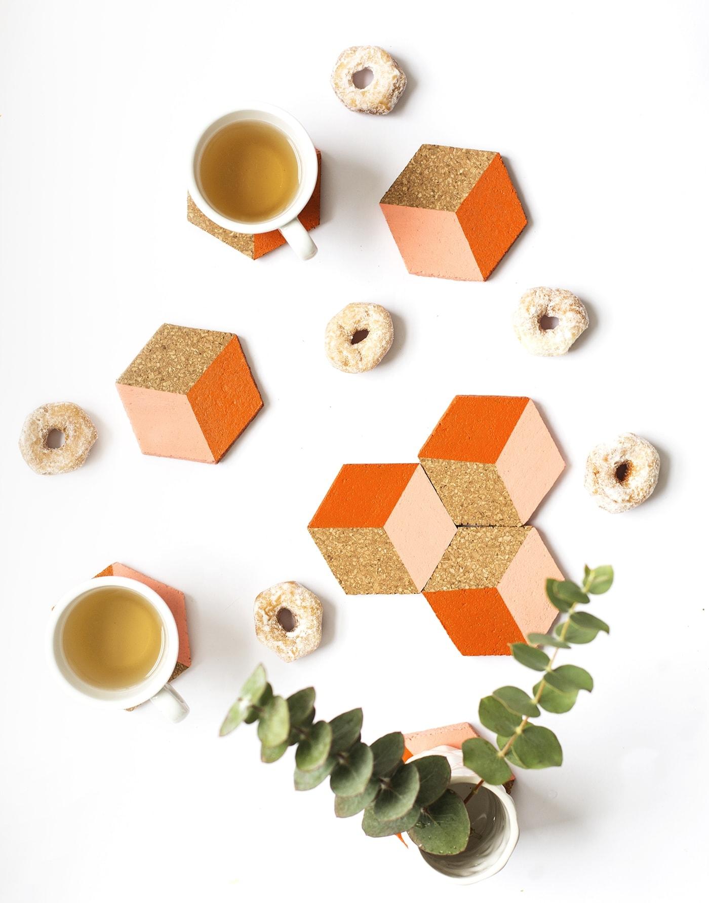DIY geometric coaster idea | an easy Christmas gift