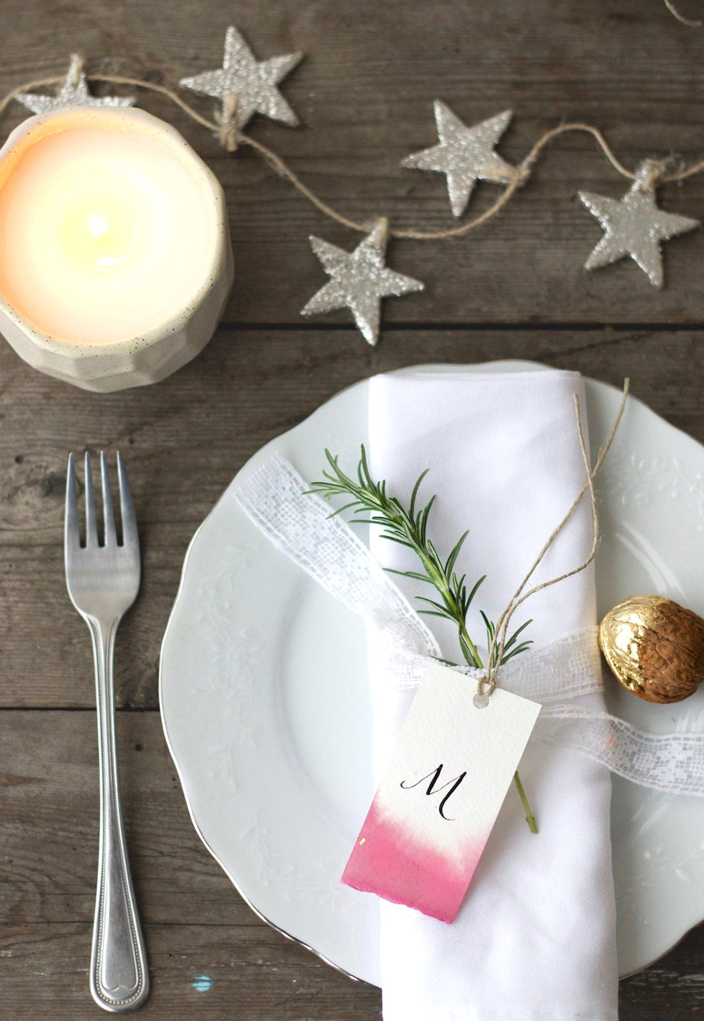 12 styled days of Christmas with West Elm | beetroot dipped place names | lobster and swan