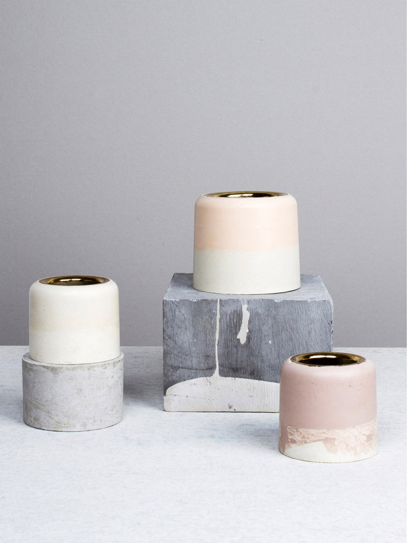 concrete vases | textures in the home | neutrals