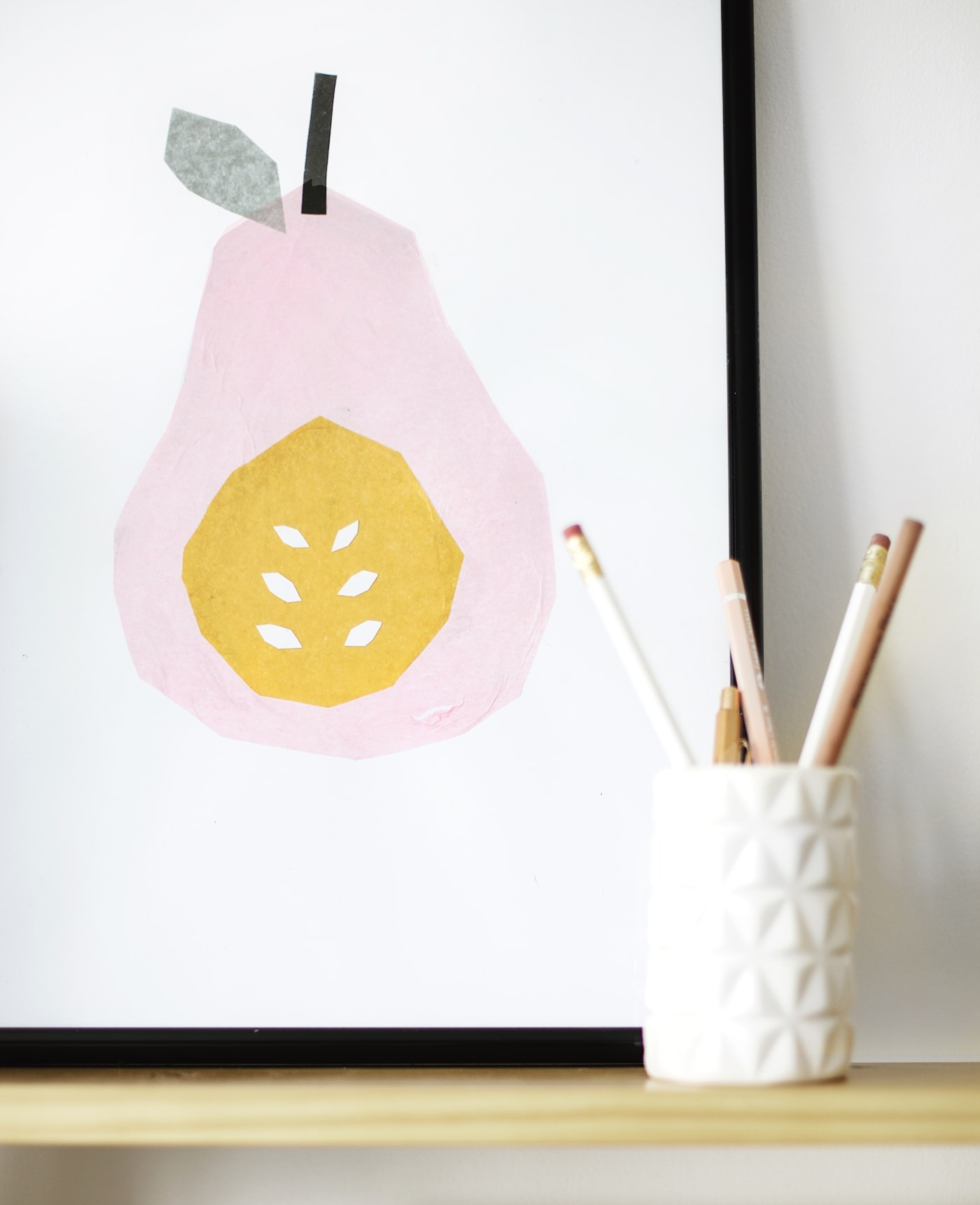 tissue paper pear print | DIY wall art