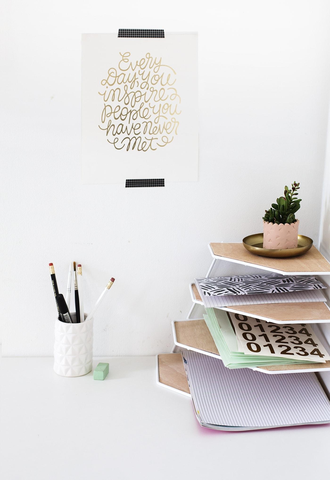 DIY balsa wood desk organiser | workspace tidy up | easy craft ideas
