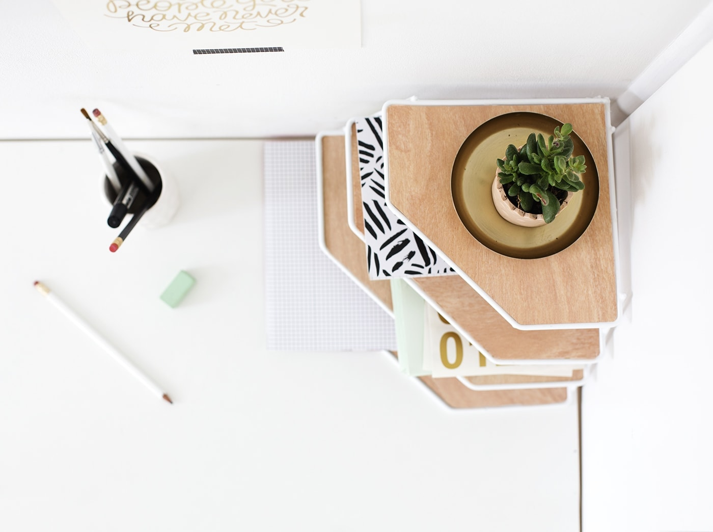 DIY desk organiser tutorial | balsa wood project | add some style to your workspace | the lovely drawer