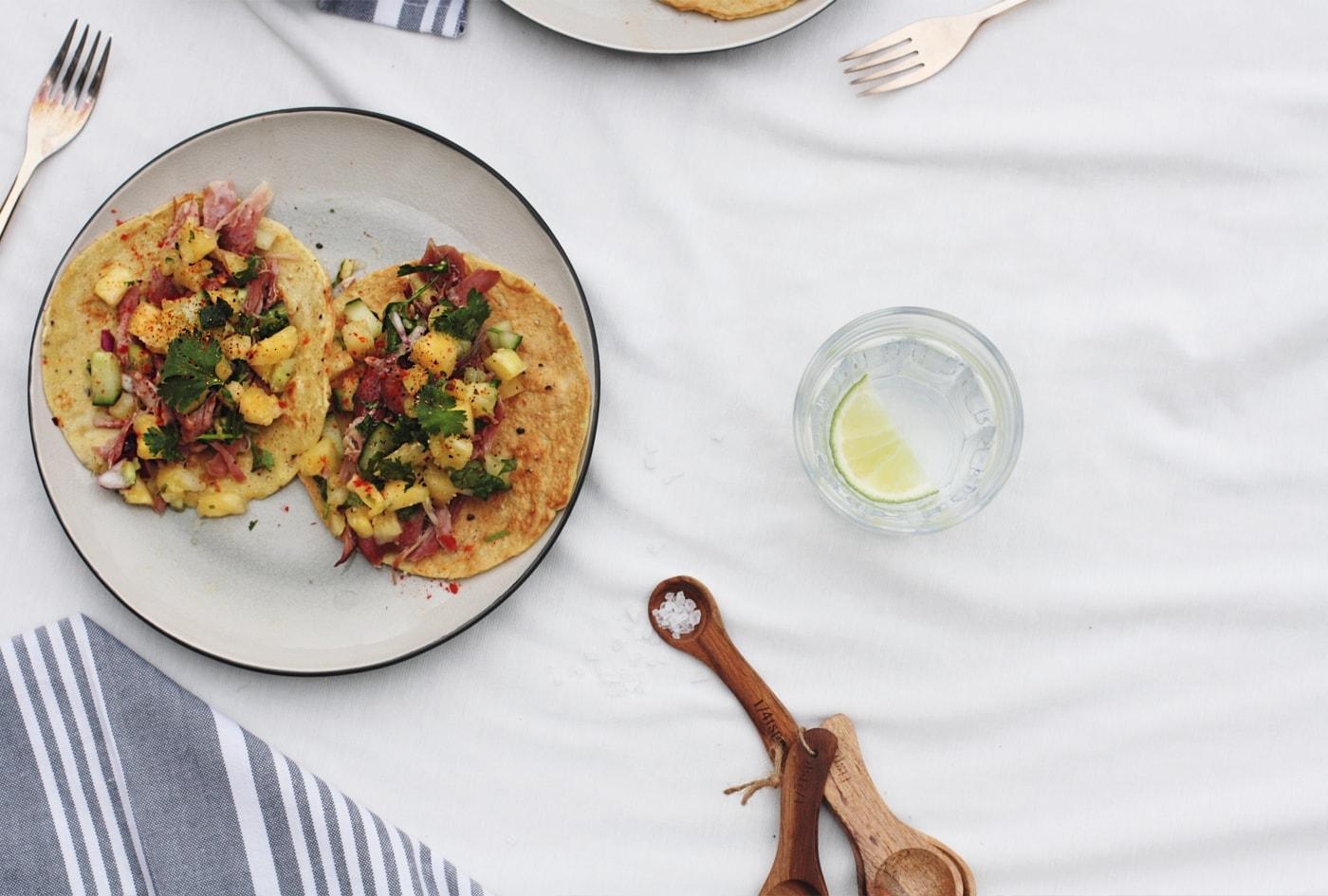Paleo ham tacos with pineapple salsa   gluten free   grain free   dairy free   dinner recipes