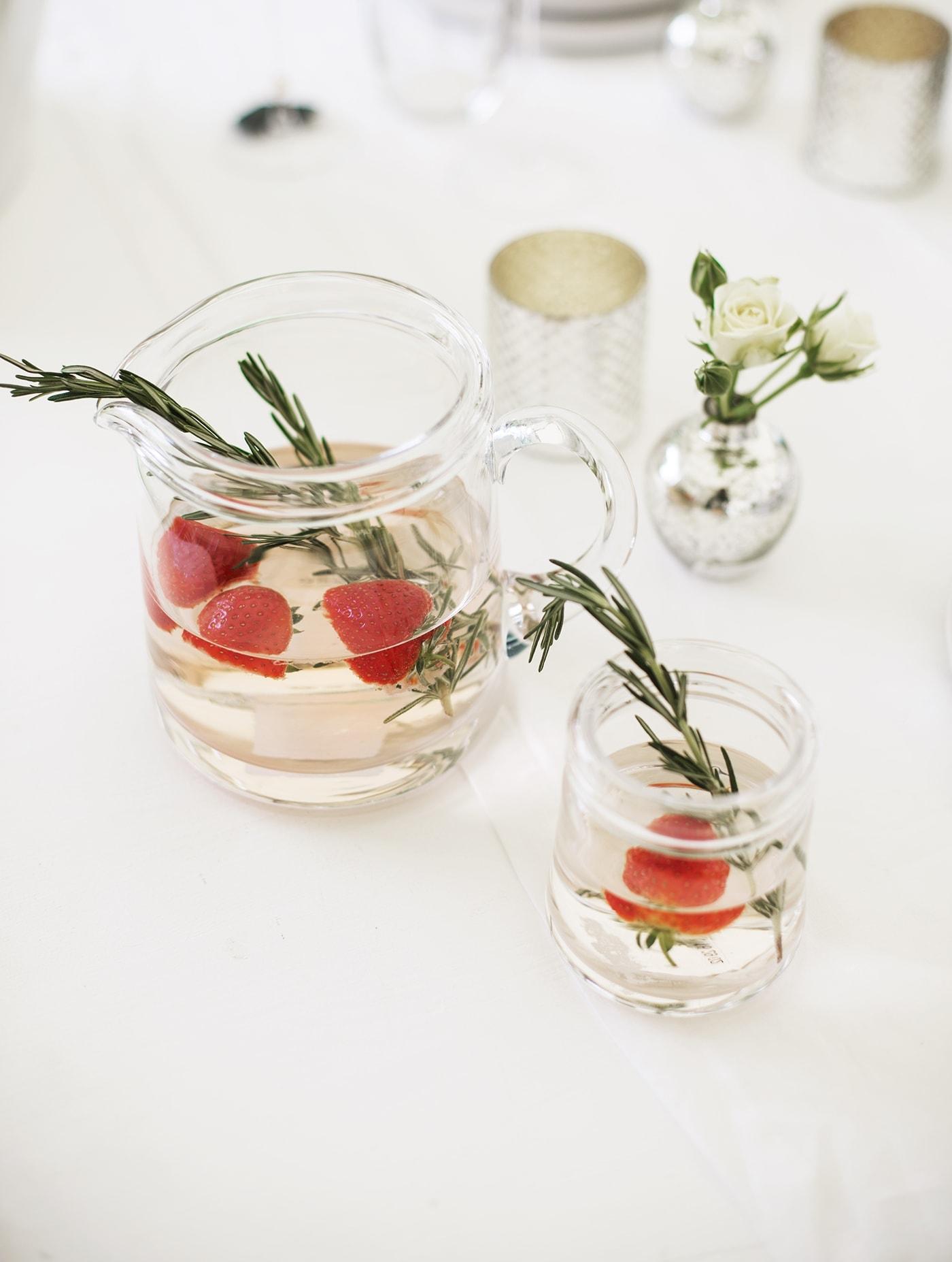 The White Company summer entertaining | strawberry & rosemary spritzer
