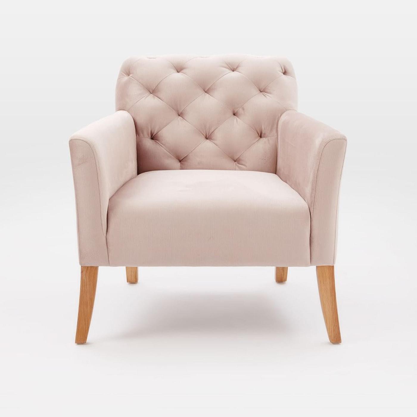 blush west elm velvet chair | home decor | interiors