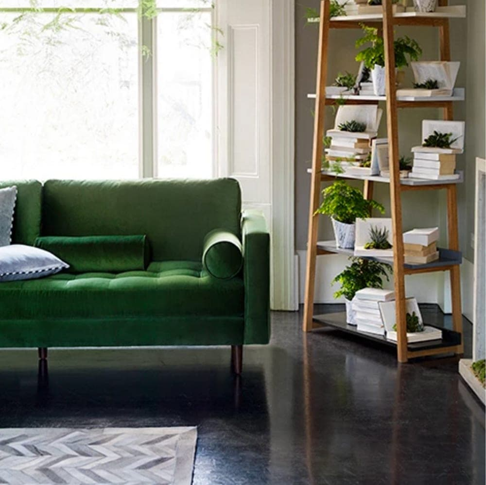 green velvet sofa | made.com | interiors | living room