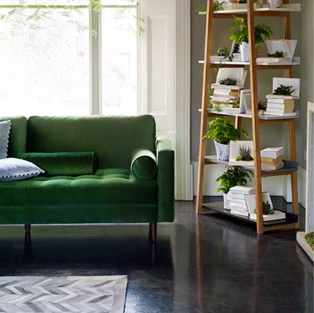 green velvet sofa | made.com | interiors | living room