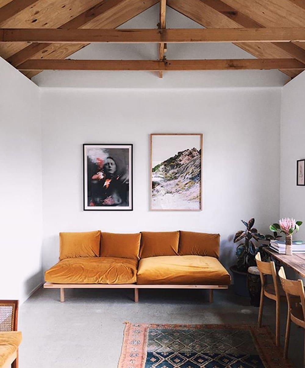 mustard velvet sofa | living room inspiration | interiors