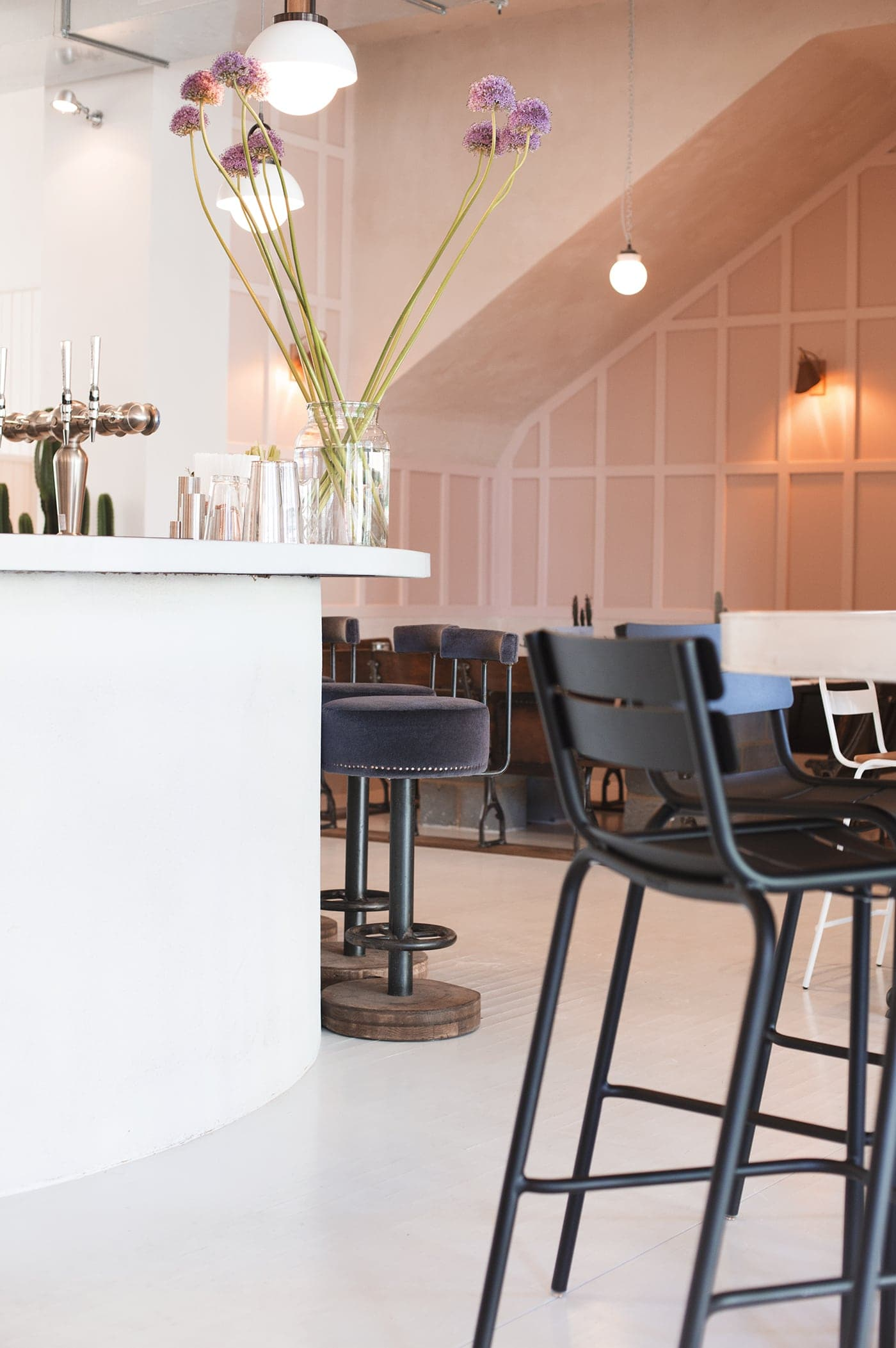 no197 chiswick firestation | blush walls | velvet bar stools