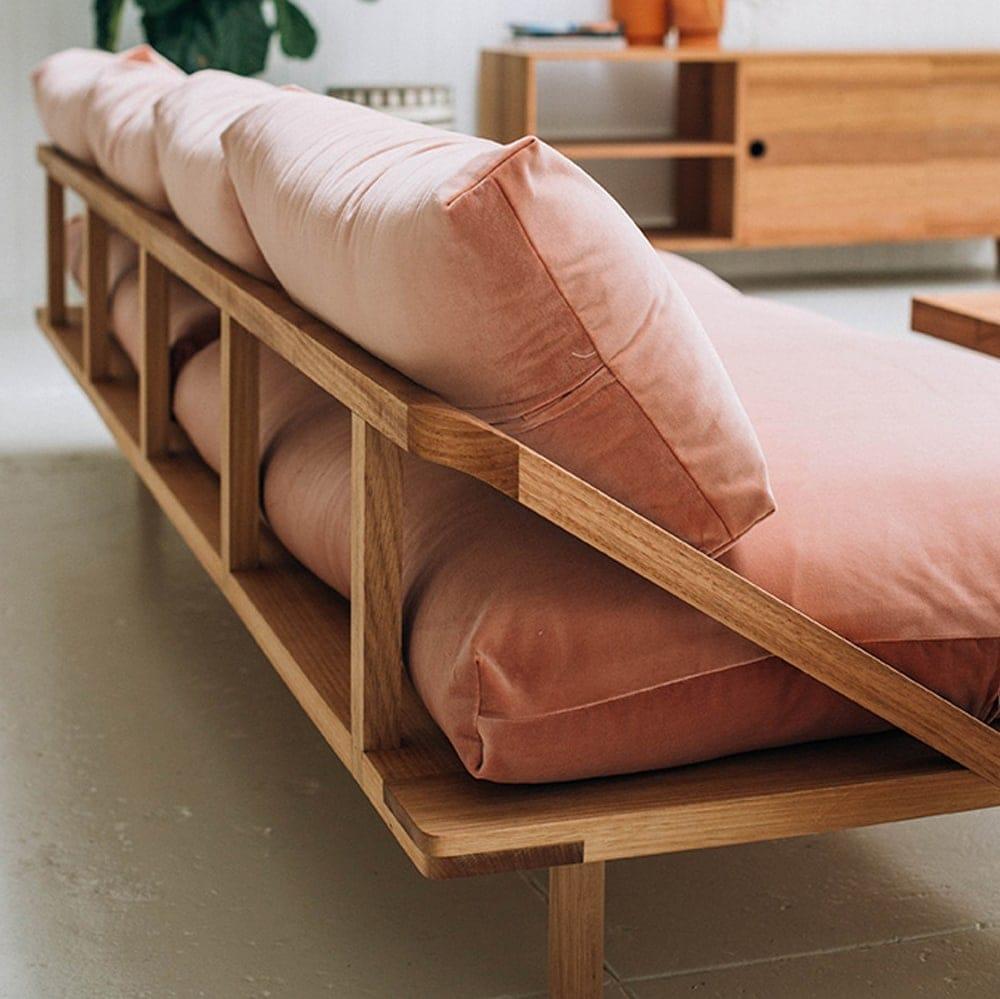 pink velvet reclined sofa | interiors | living room