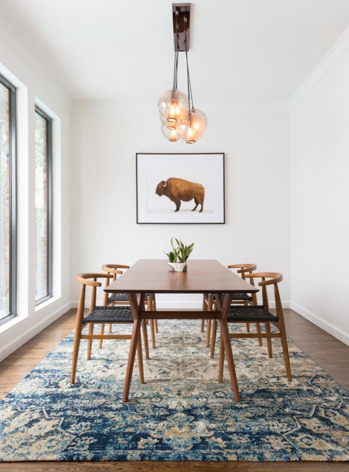rugs in the home | patterned rug | dining room