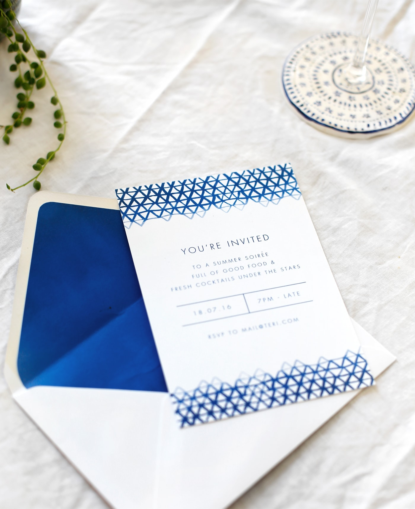 indigo summer dining | free printable invite
