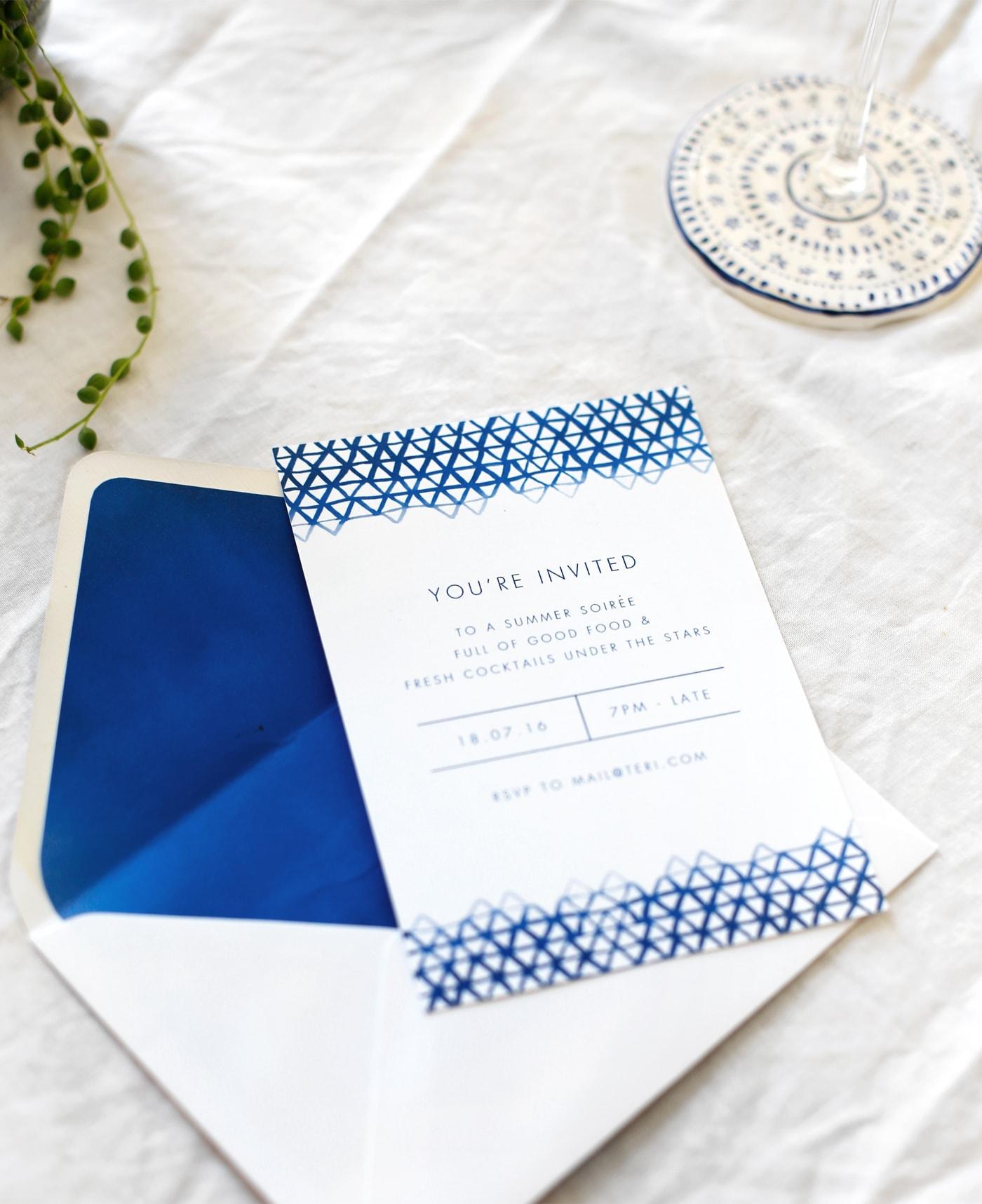 indigo summer dining | free printable invite