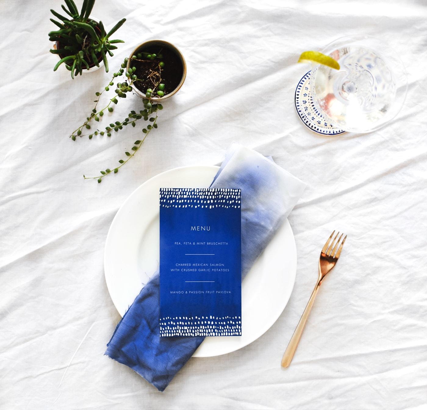 indigo summer dining | free printable menu