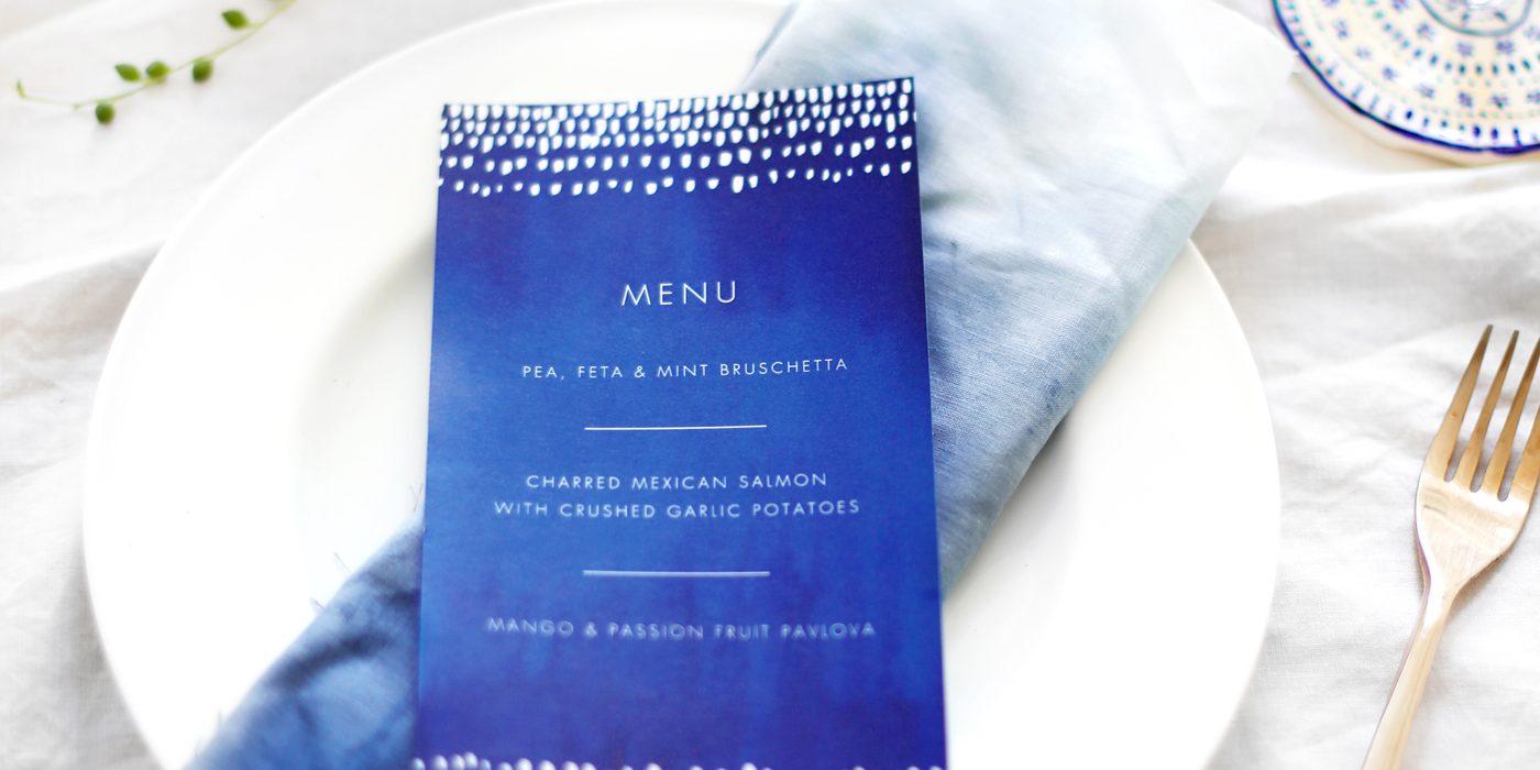 indigo summer dining | free printable menus