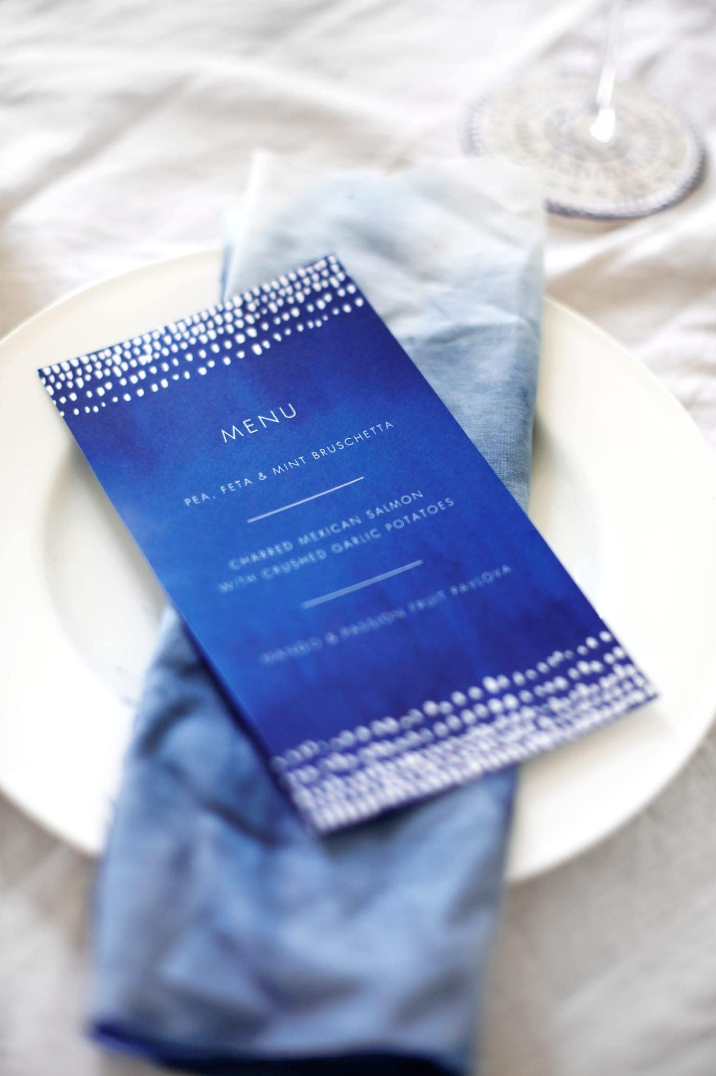 indigo summer dining | free printables