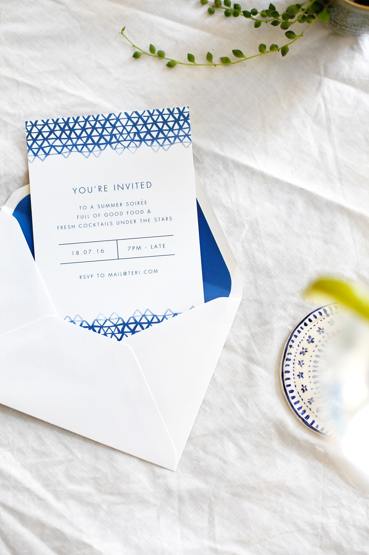 indigo summer party invite | free printables