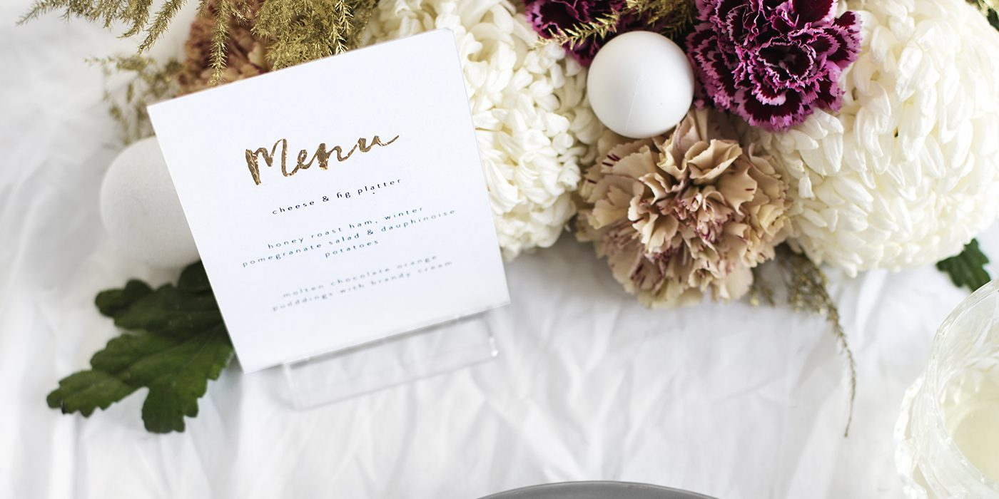 new year diy place settings and menu cards