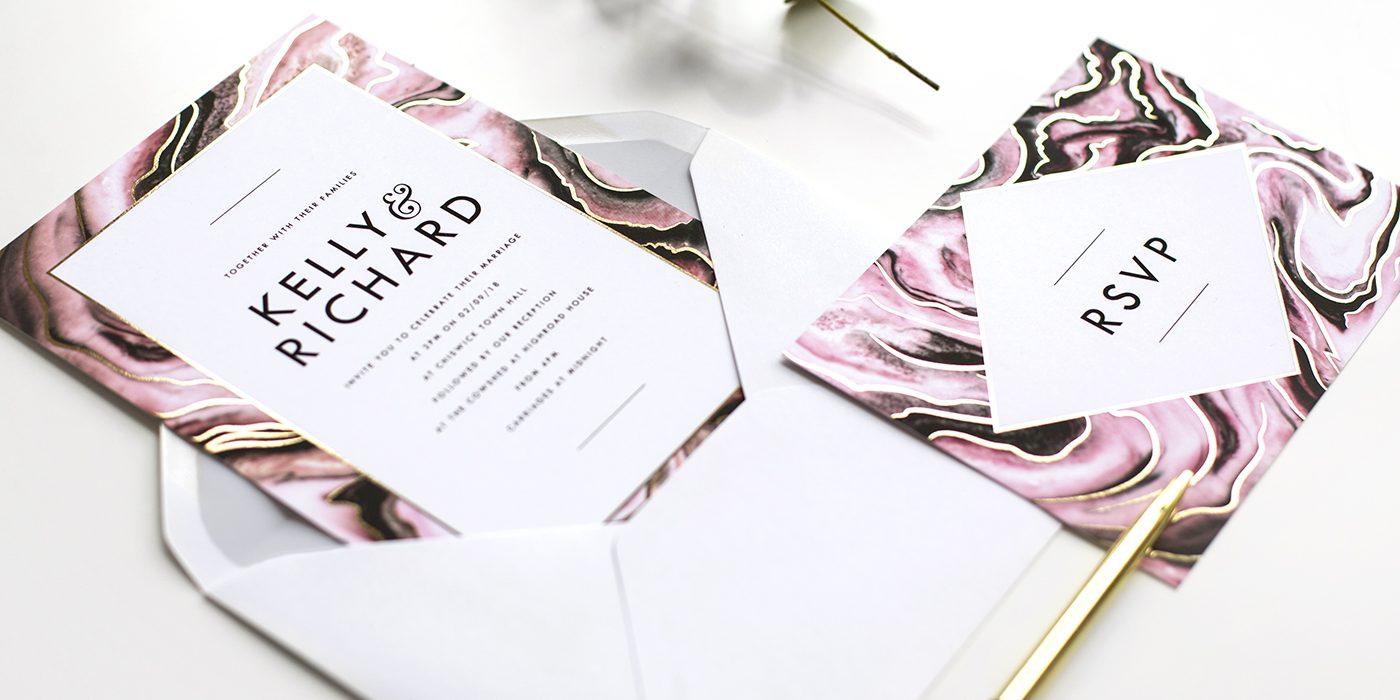 marble luxe wedding invite & RSVP