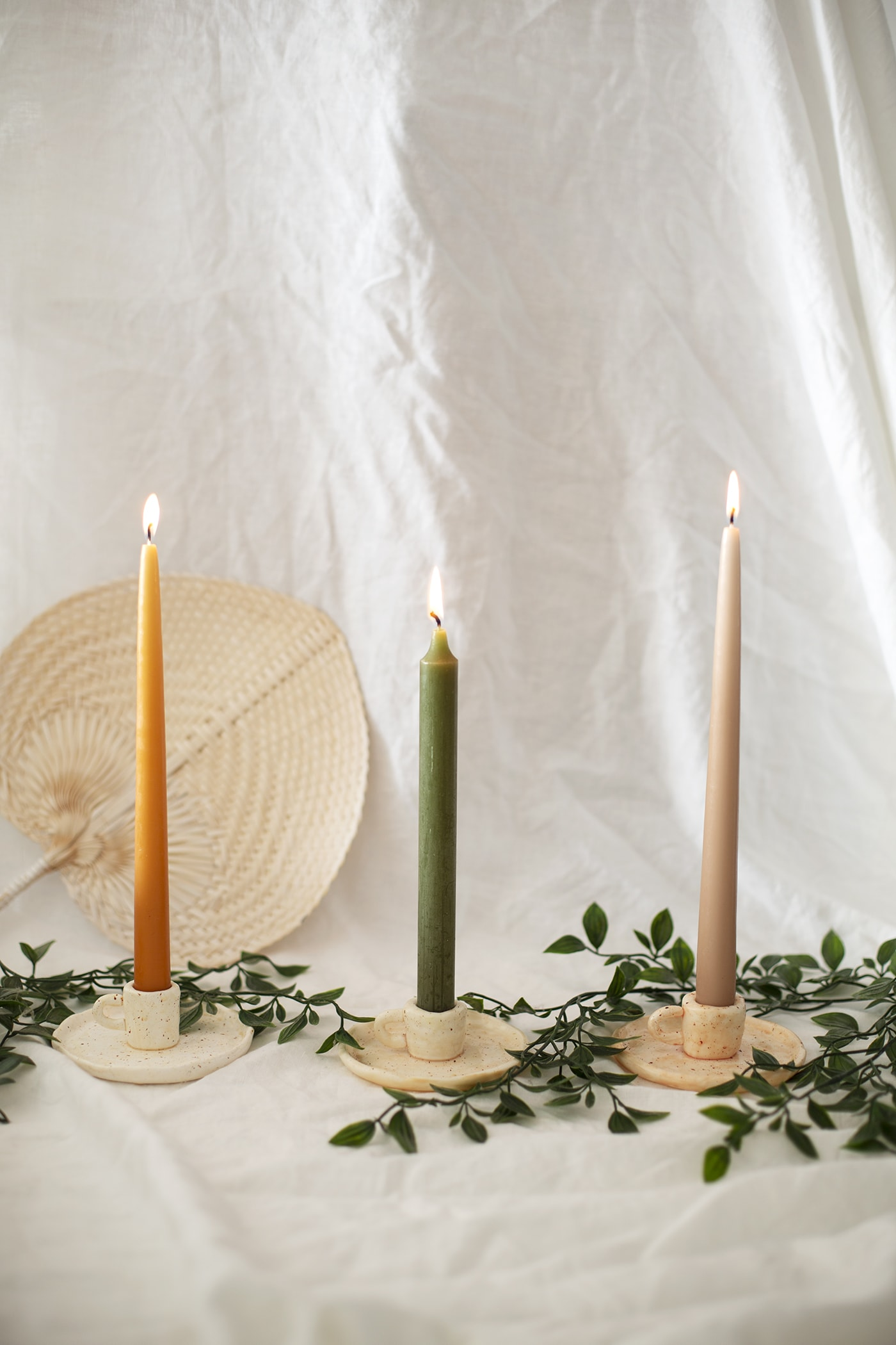 DIY Ceramic-look candleholders